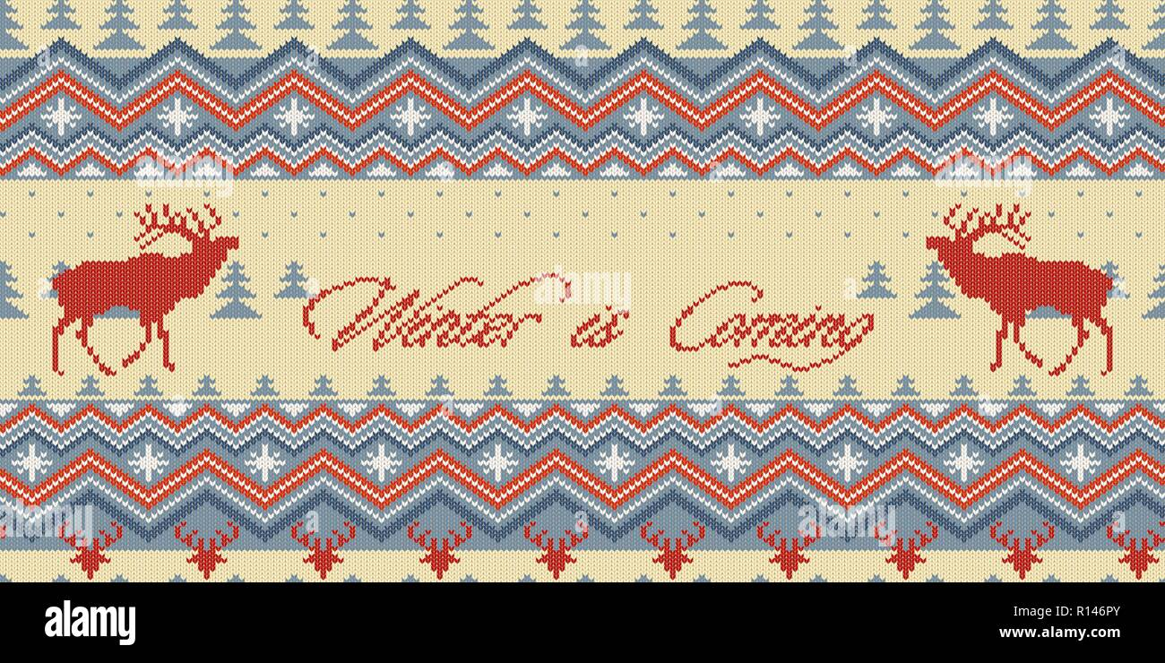 Winter is Coming. Christmas Winter knitted woolen seamless pattern with red deer in conifer forest - Stock Vector
