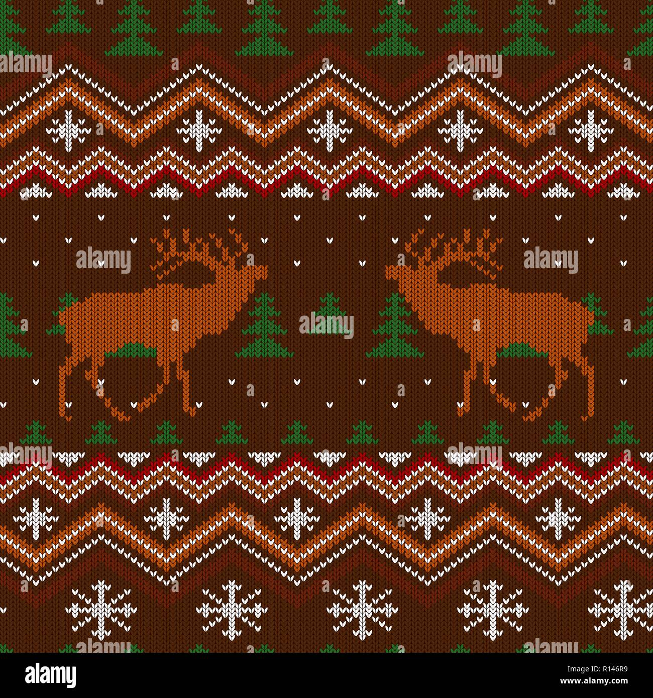 Winter knitted woolen seamless pattern with red deer and Christmas trees - Stock Vector
