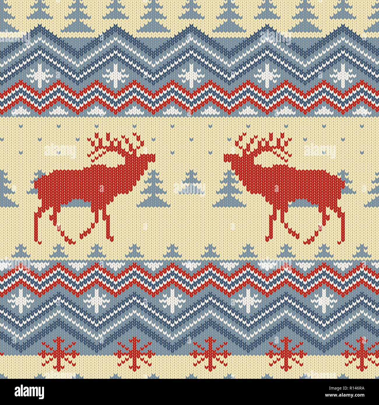 Winter knitted woolen seamless pattern with red deer in conifer forest - Stock Vector