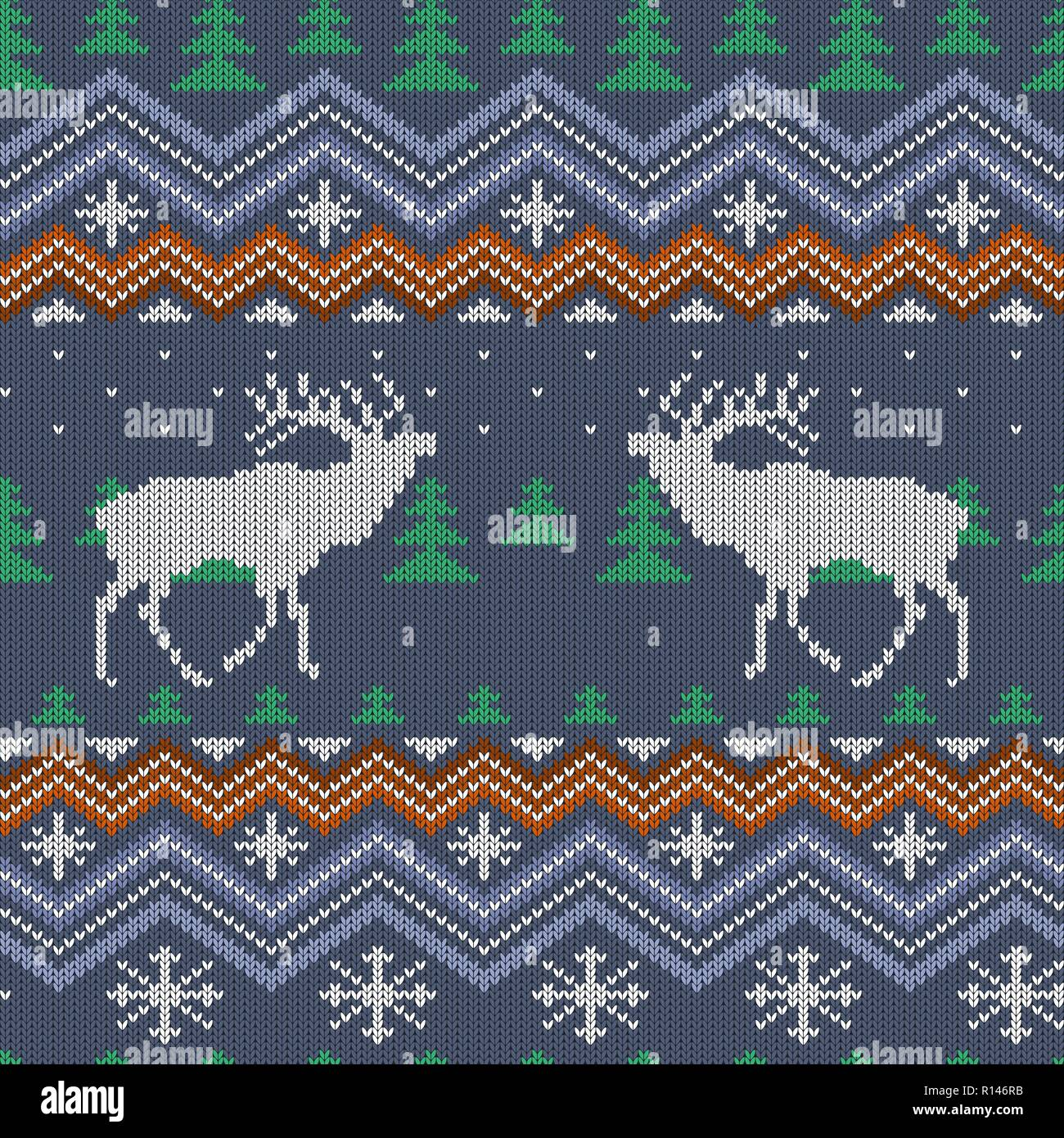 Winter knitted woolen seamless pattern with reindeer and Christmas trees - Stock Vector