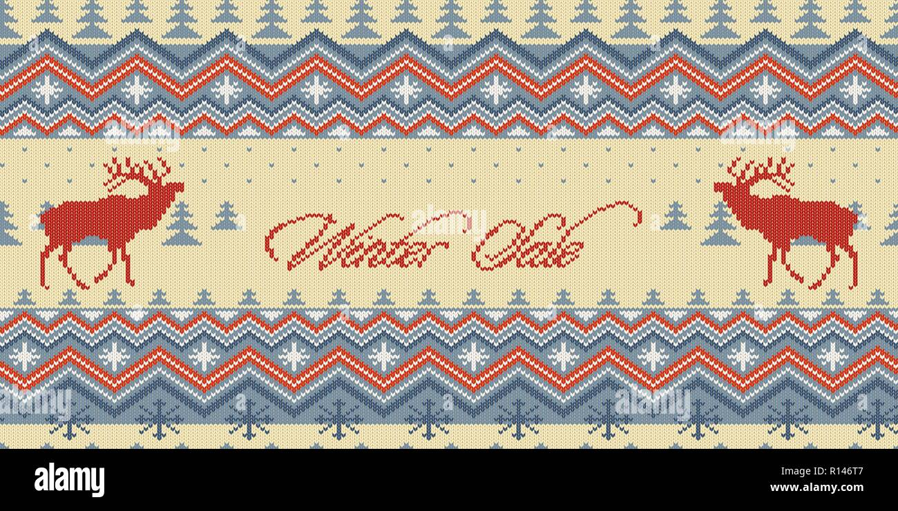 Winter Sale. Christmas Winter knitted woolen seamless pattern with red deer in conifer forest - Stock Vector