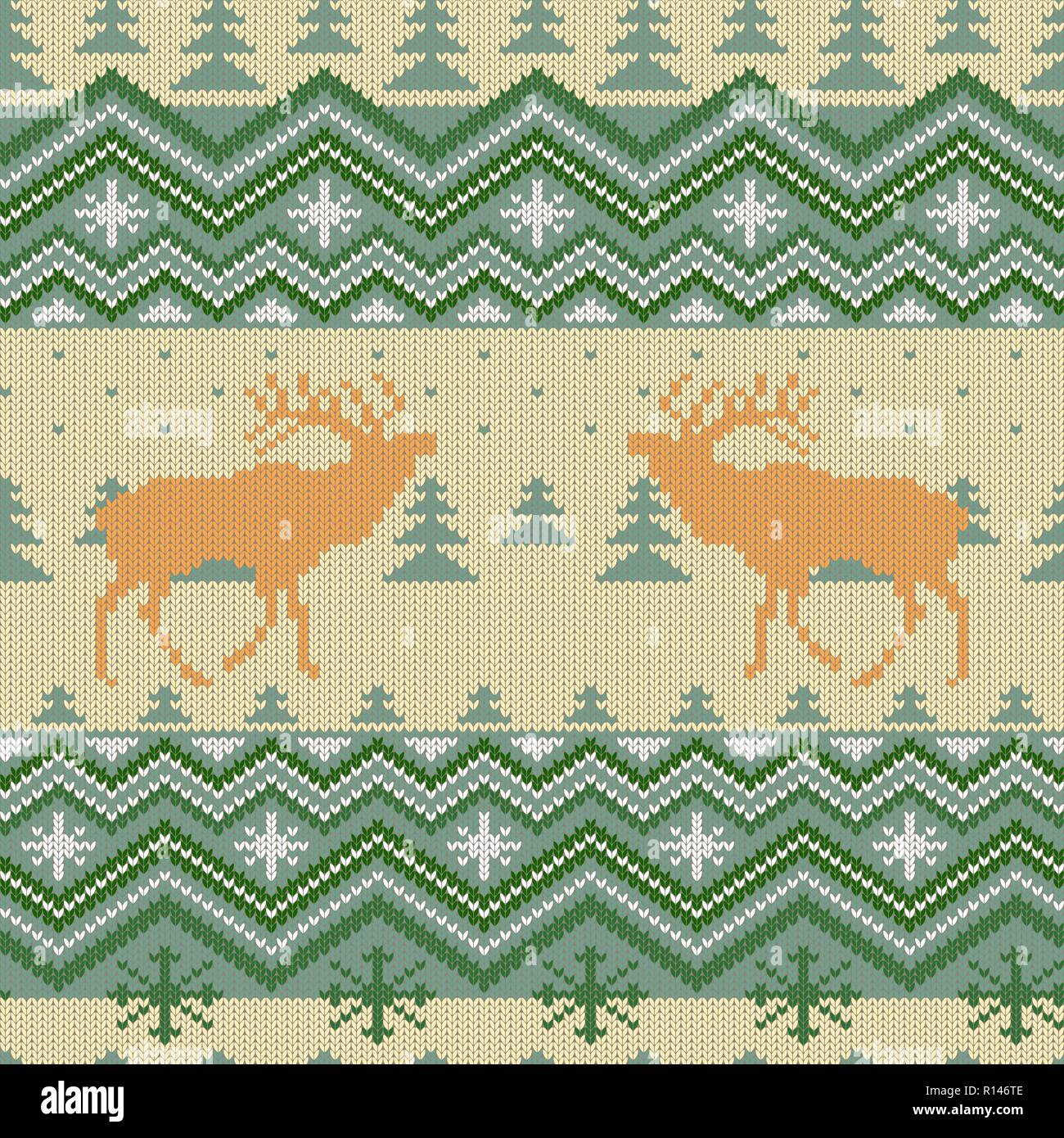 Christmas knitted woolen seamless pattern with red deer in conifer forest - Stock Vector