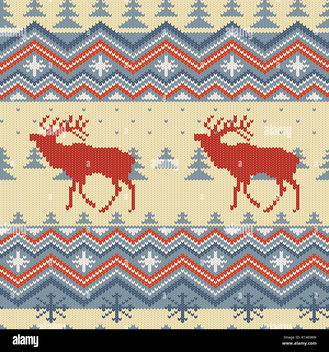 Christmas winter knitted woolen seamless pattern with red deer in in blue firs forest - Stock Vector