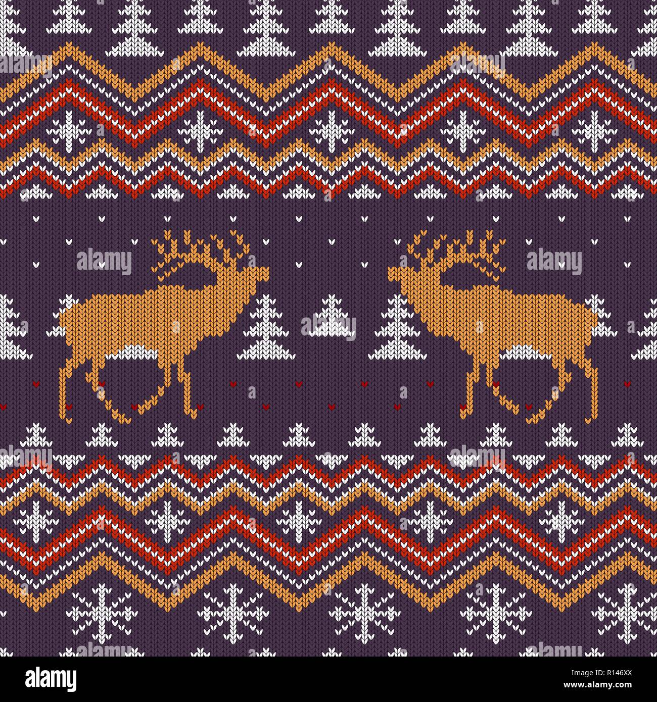 Christmas winter knitted woolen seamless pattern with red deer in snow-covered spruce forest - Stock Vector