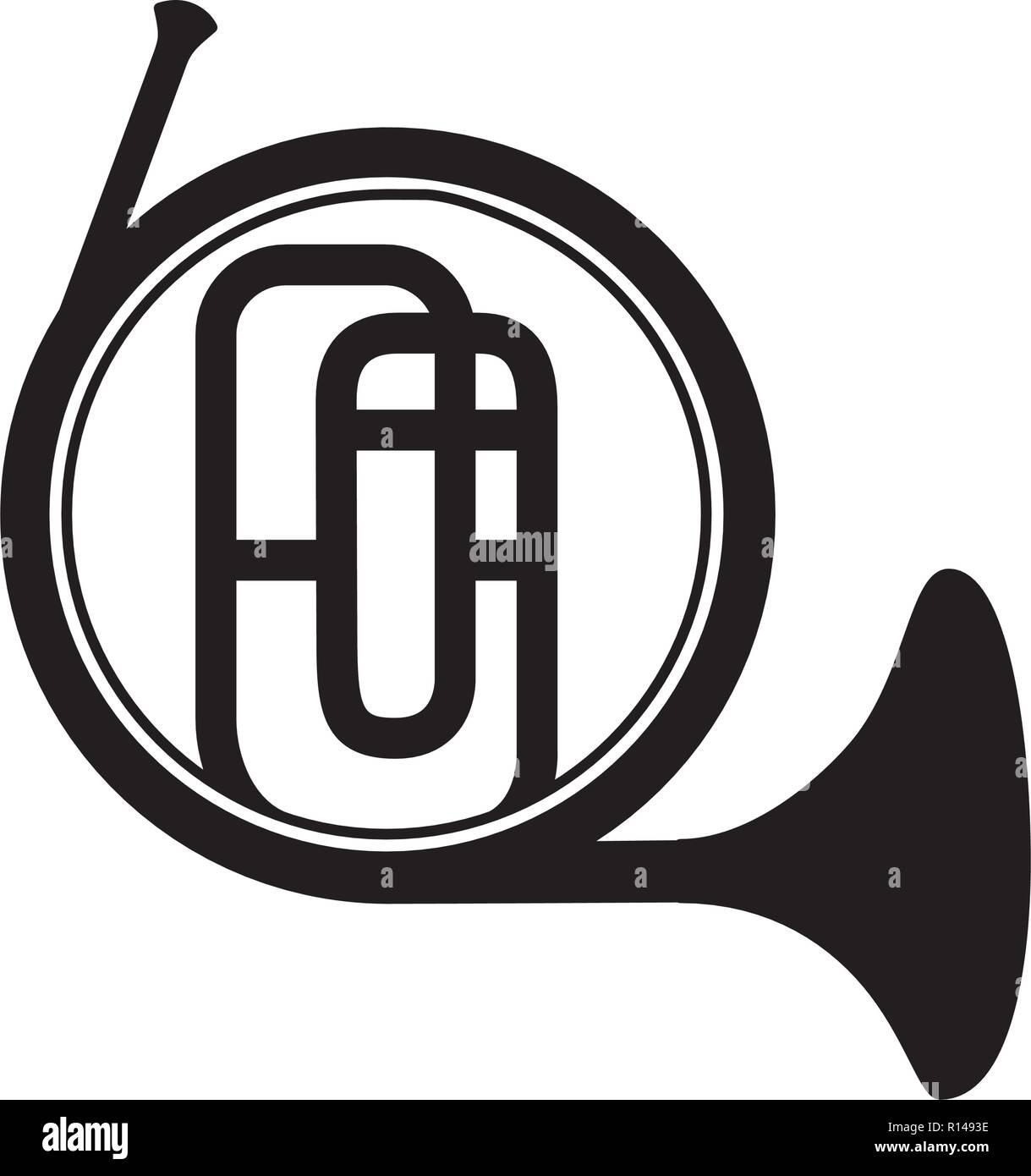 french horn instrument on white background vector illustration - Stock Image
