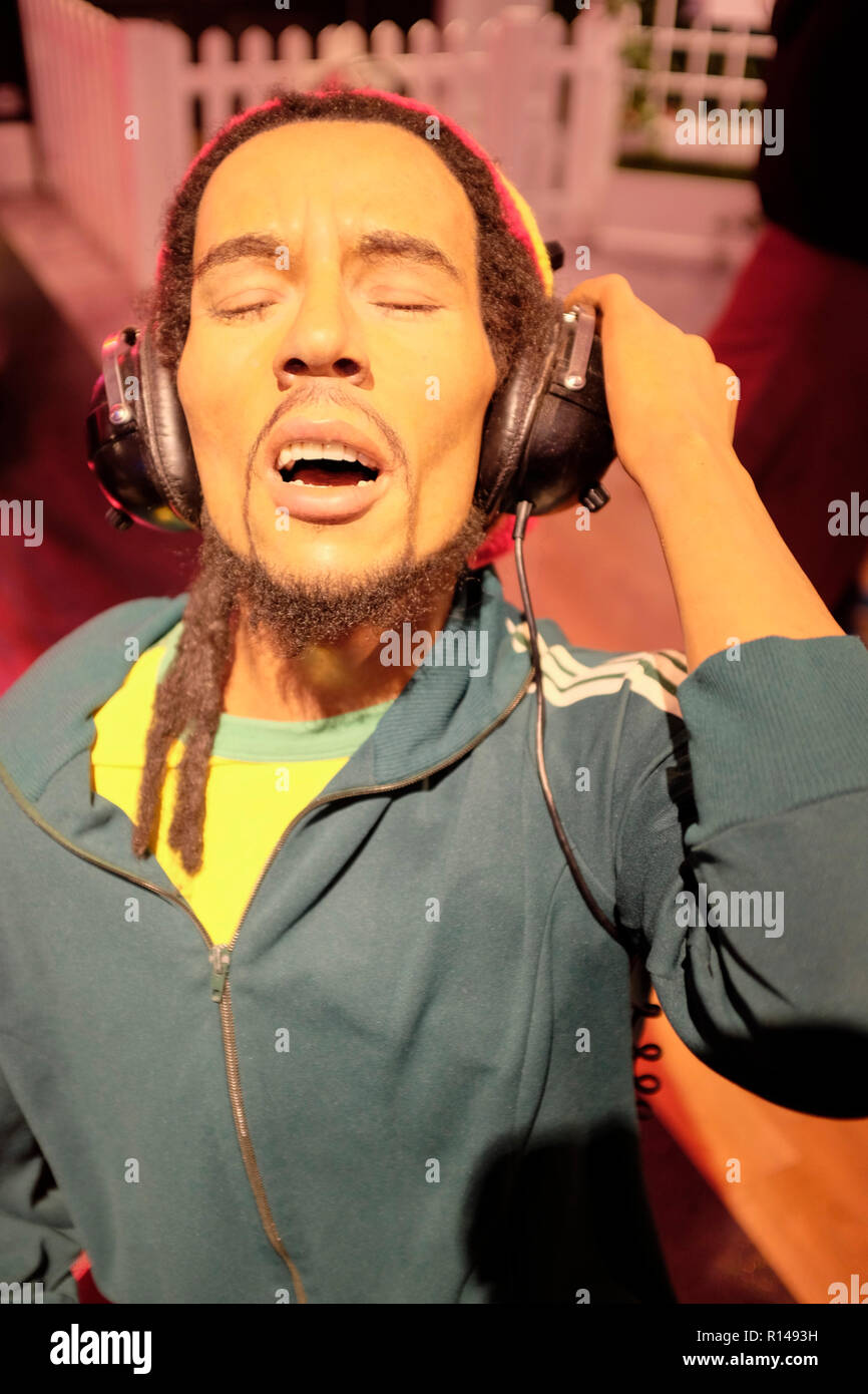 Wax figure of reggae music legend Bob Marley at world renowned tourist attraction Madame Tussauds Wax museum in London, United Kingdom. - Stock Image