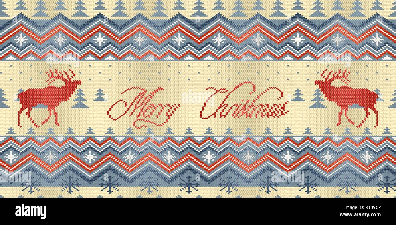 Merry Christmas. Winter knitted woolen seamless pattern with red deer in conifer forest - Stock Vector