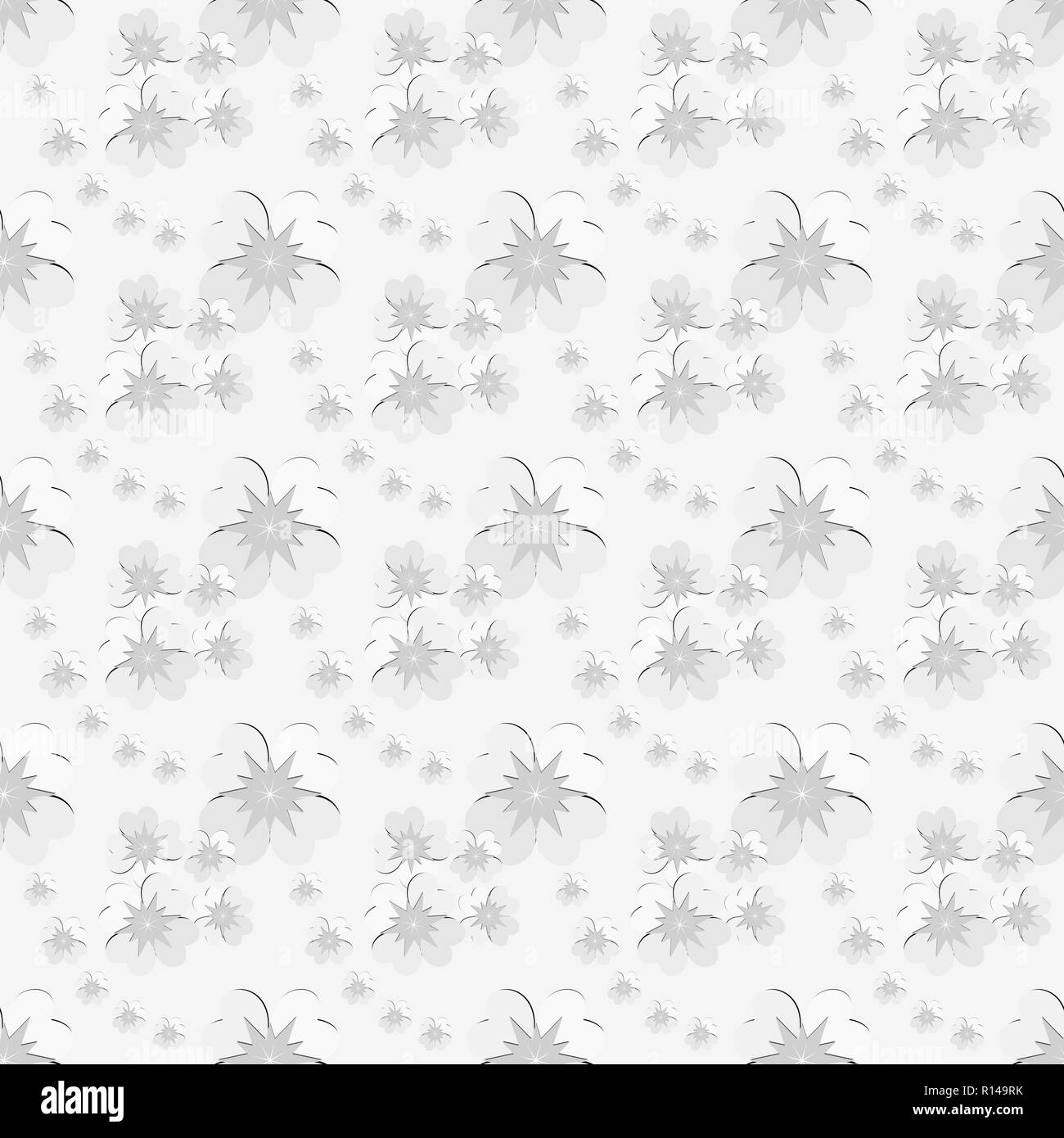 Seamless Floral Pattern Of White Flowers With Gray Pollen Silver