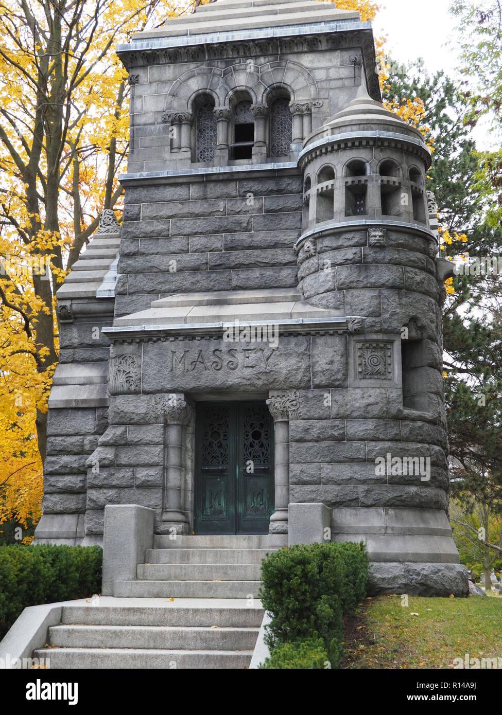 Massey Family Mausoleum, Mount Pleasant Cemetery in Toronto Stock Photo