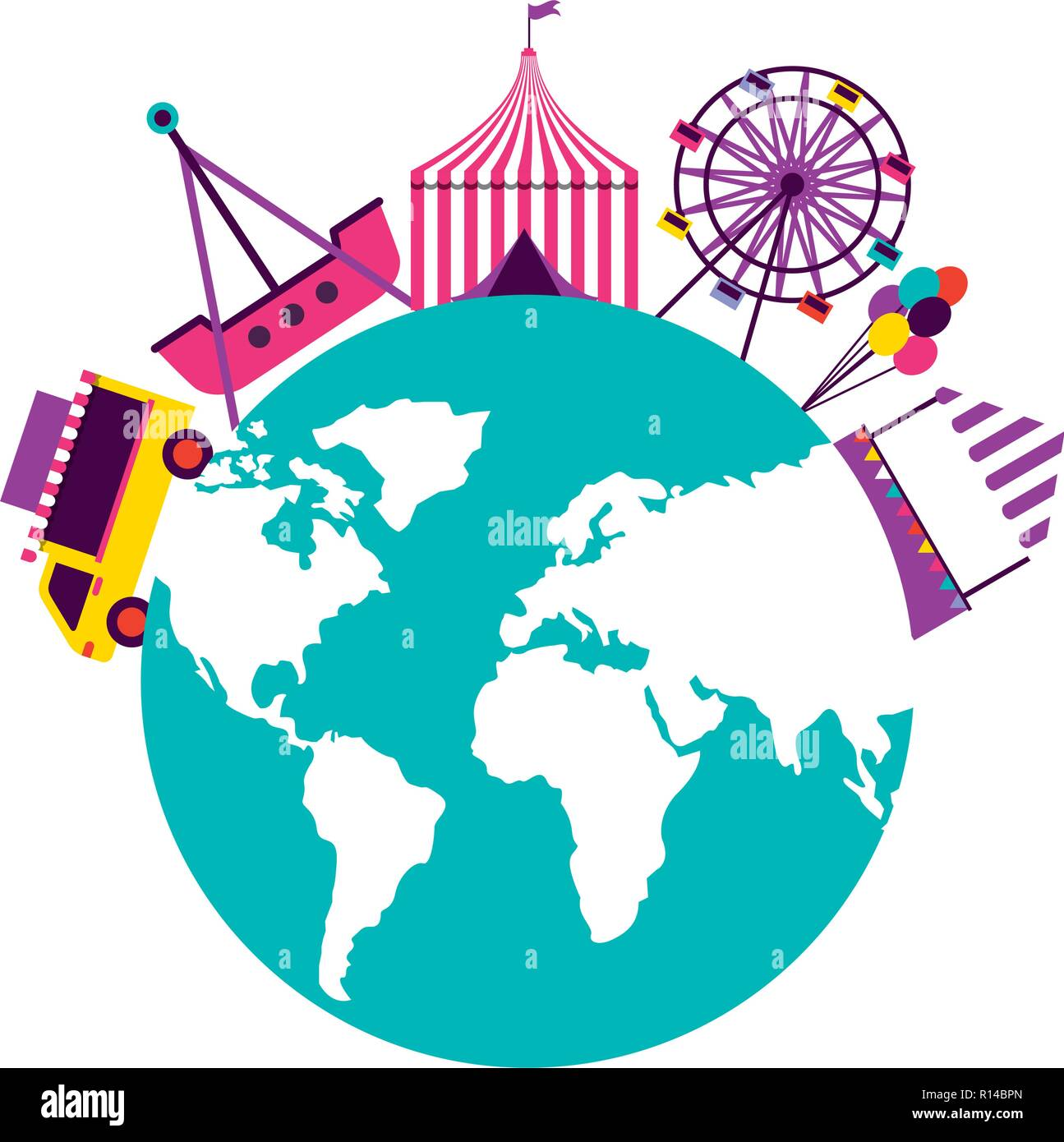 world tent balloons truck food fun fair carnival vector illustration - Stock Vector