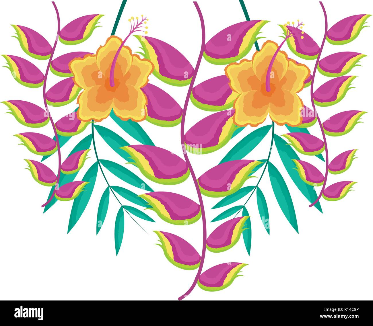 hibiscus flower and heliconia leaves tropical vector illustration Stock Vector