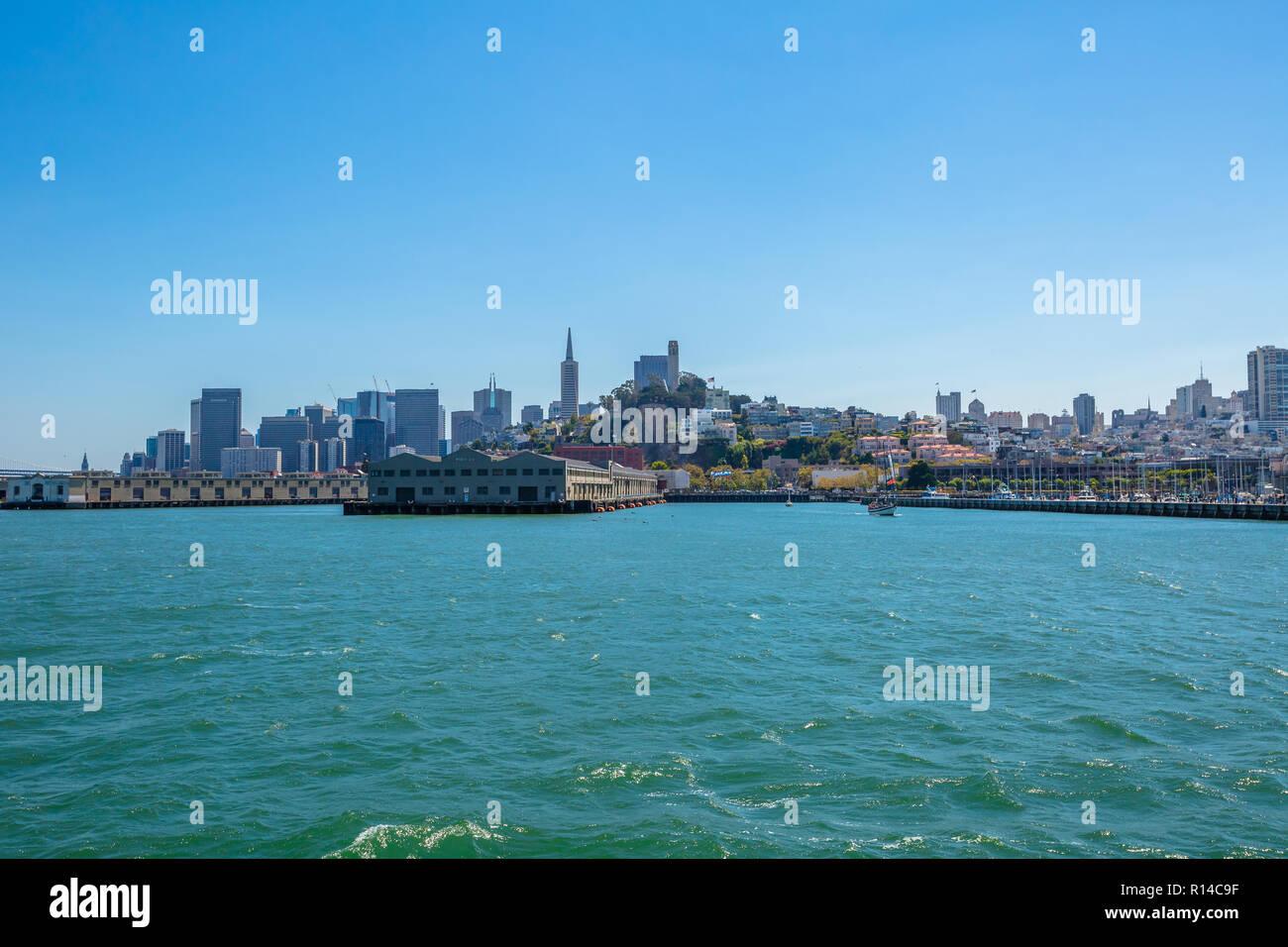 San Francisco, California, United States - August 14, 2016: Alcatraz boat tour to Alcatraz island in San Francisco pier 33, California in the United States. - Stock Image