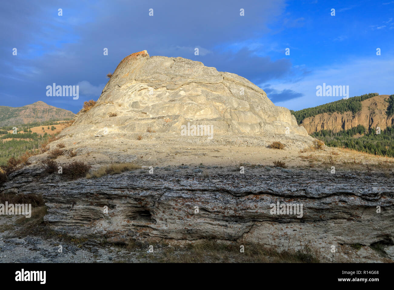 Soda Butte thermal cone in Yellowstone National Park - Stock Image