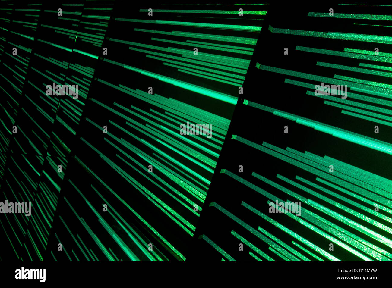 Colorful streaks of light show diminishing perspective and create a sense of motion, movement and speed - Stock Image