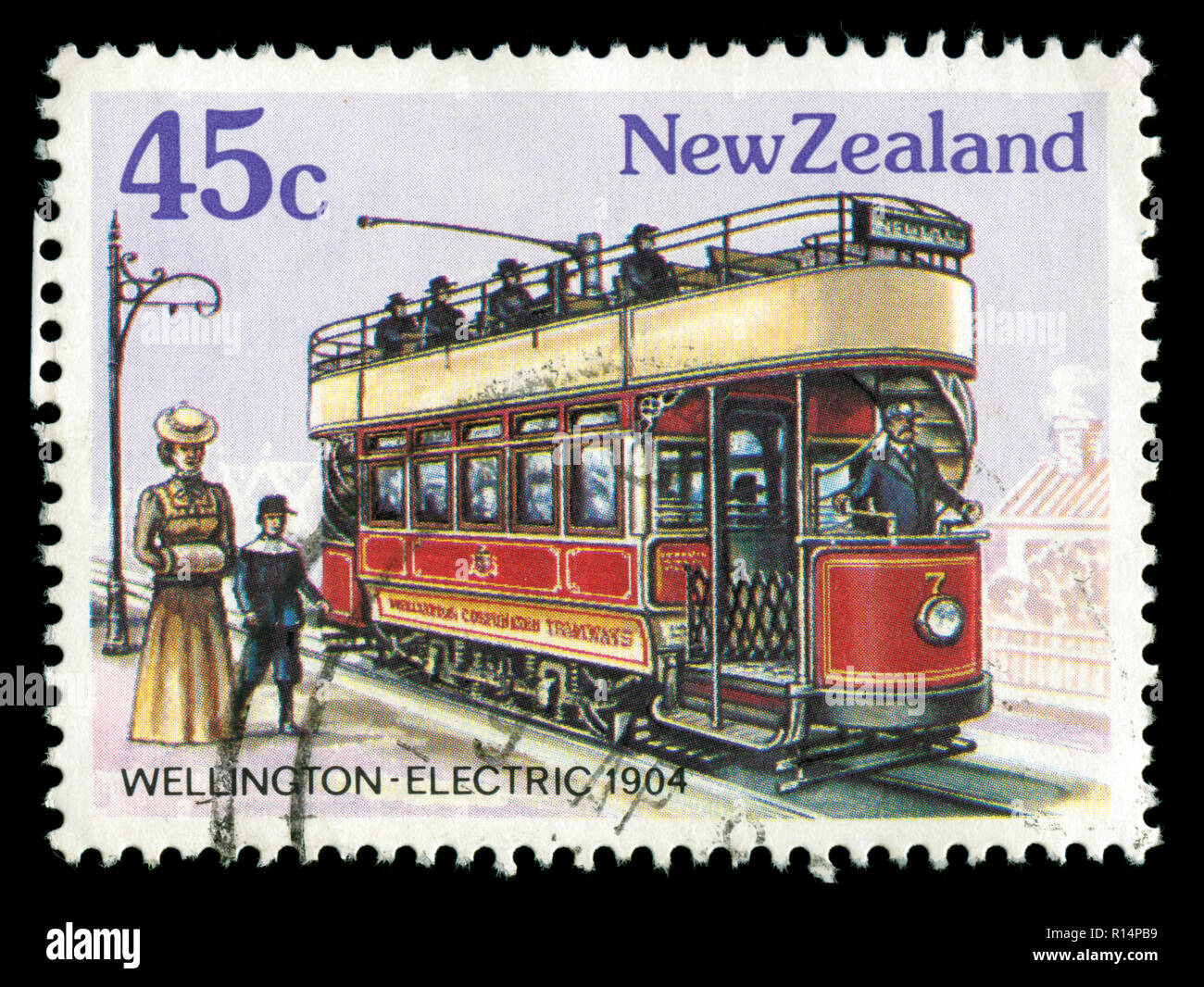Postmarked stamp from New Zealand in the Vintage Trams series issued in 1985 - Stock Image