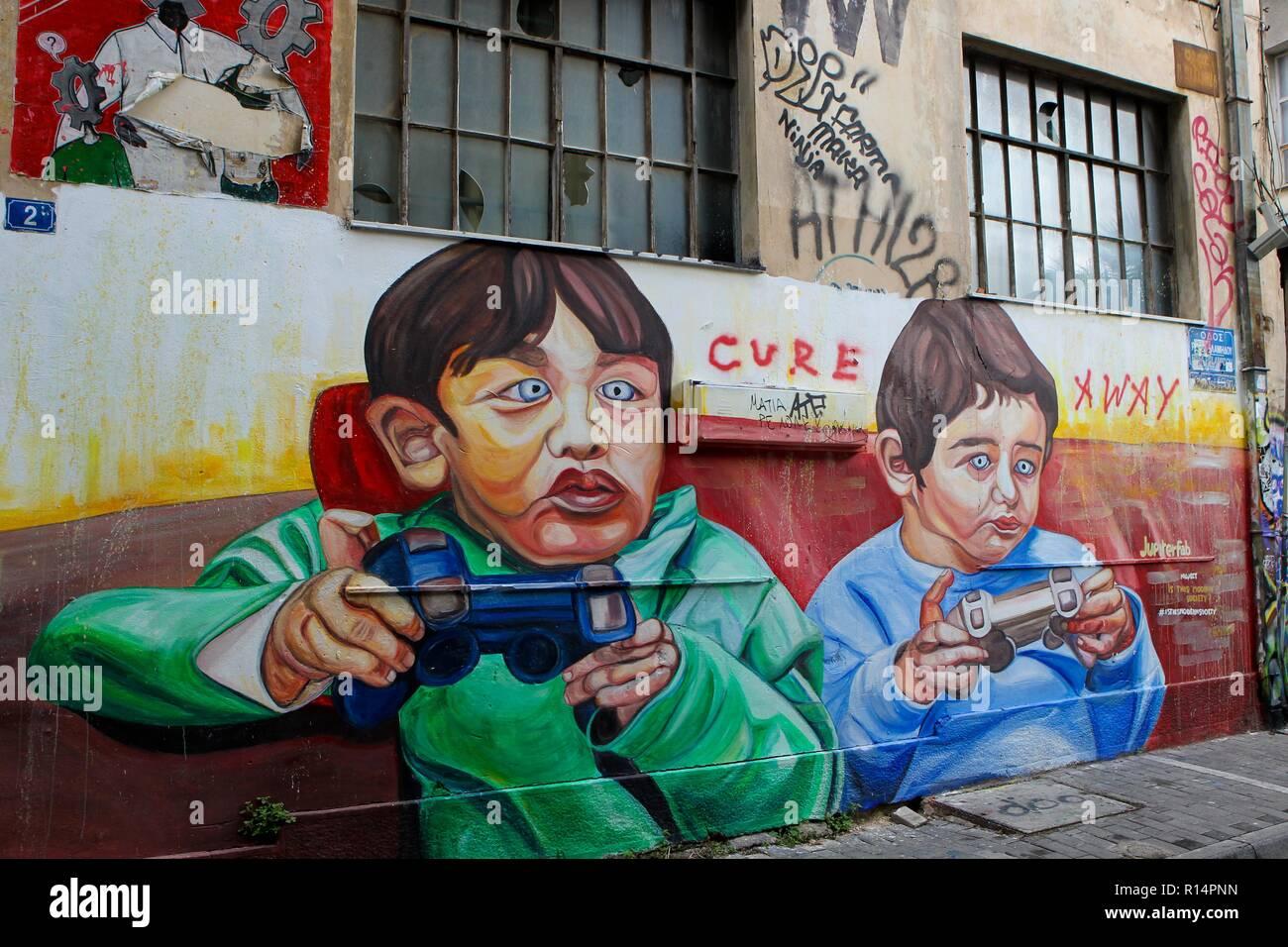 Greece, Athens, graffiti in Psiri district - Stock Image