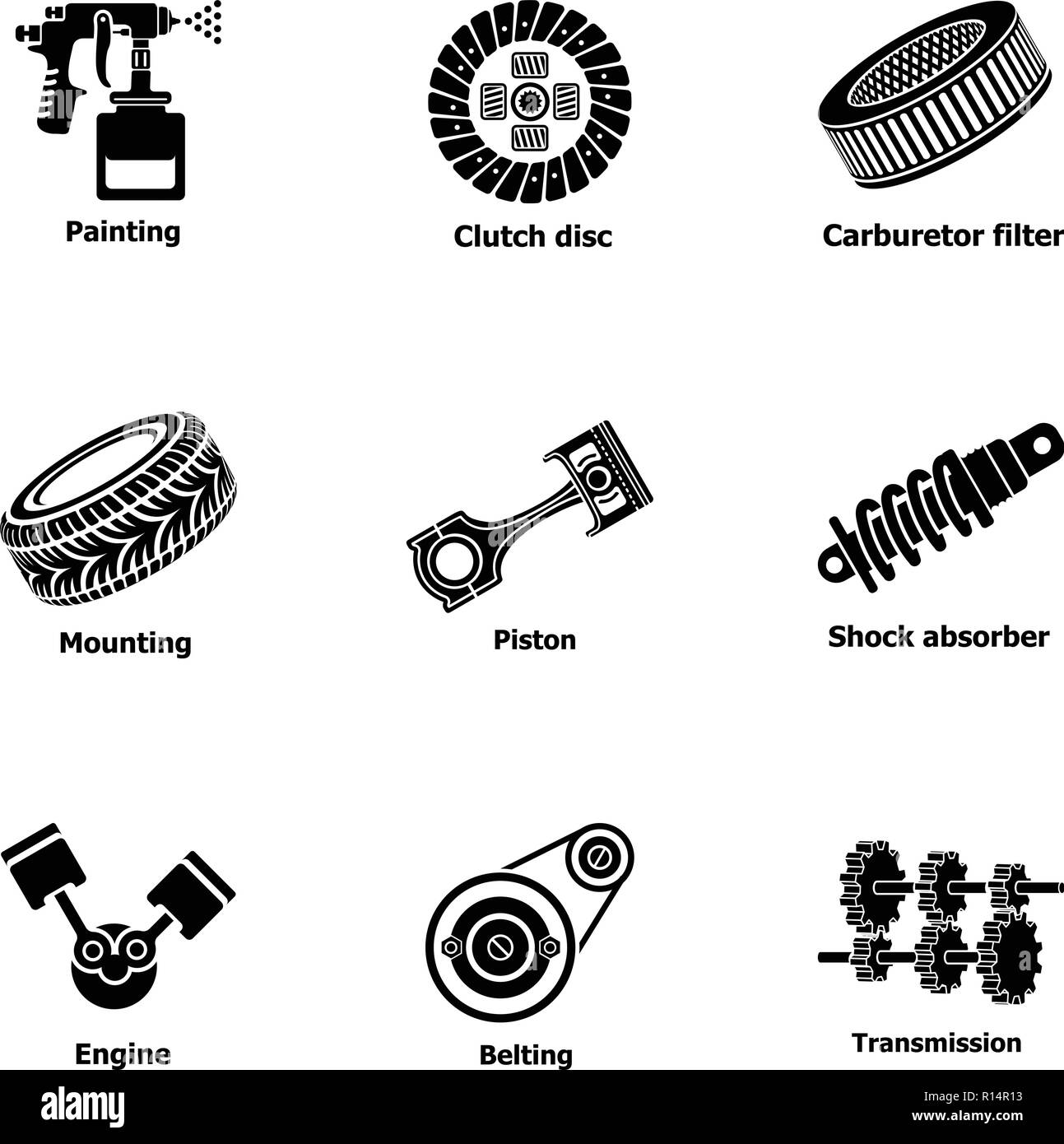 Tuning Street Stock Vector Images Alamy Simple Engine Piston Diagram Oil Repair Icons Set Style