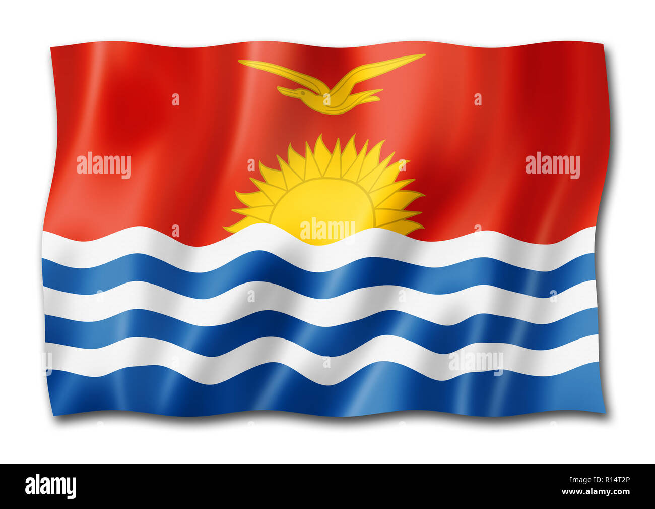 Kiribati flag, three dimensional render, isolated on white - Stock Image