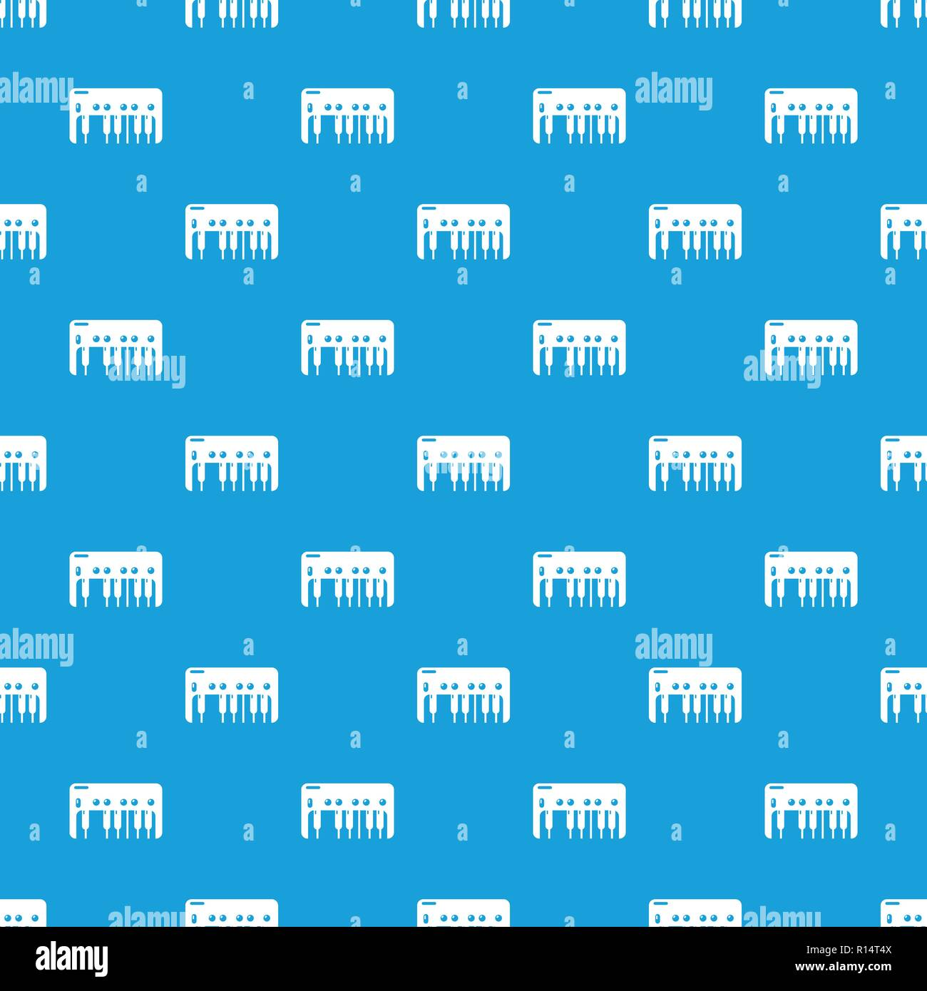 Synthesizer piano pattern vector seamless blue - Stock Image