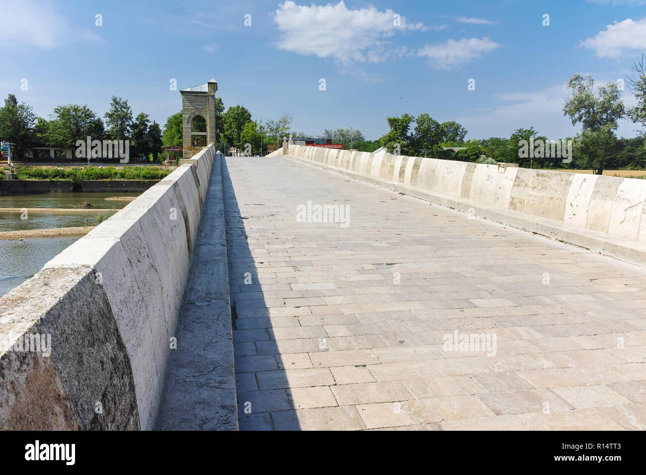 EDIRNE, TURKEY - MAY 26, 2018: Bridge from period of Ottoman Empire over Tunca River in city of Edirne,  East Thrace, Turkey - Stock Image