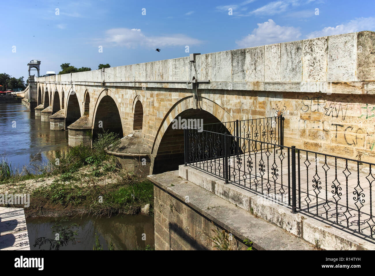 EDIRNE, TURKEY - MAY 26, 2018: Bridge from period of Ottoman Empire over Meric River in city of Edirne,  East Thrace, Turkey - Stock Image