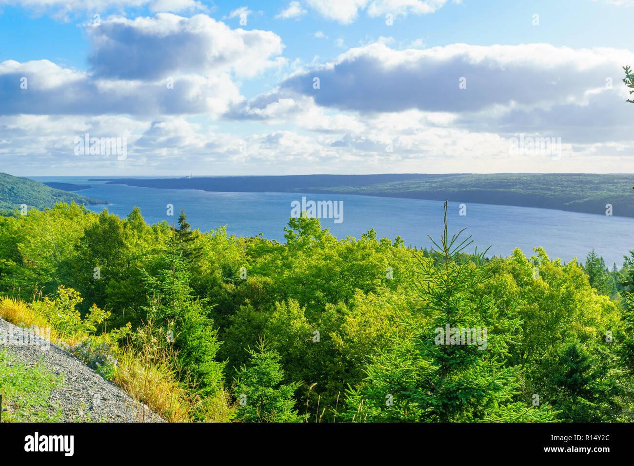 View of the Bras d-Or Lake, in Cape Breton island, Nova Scotia, Canada - Stock Image