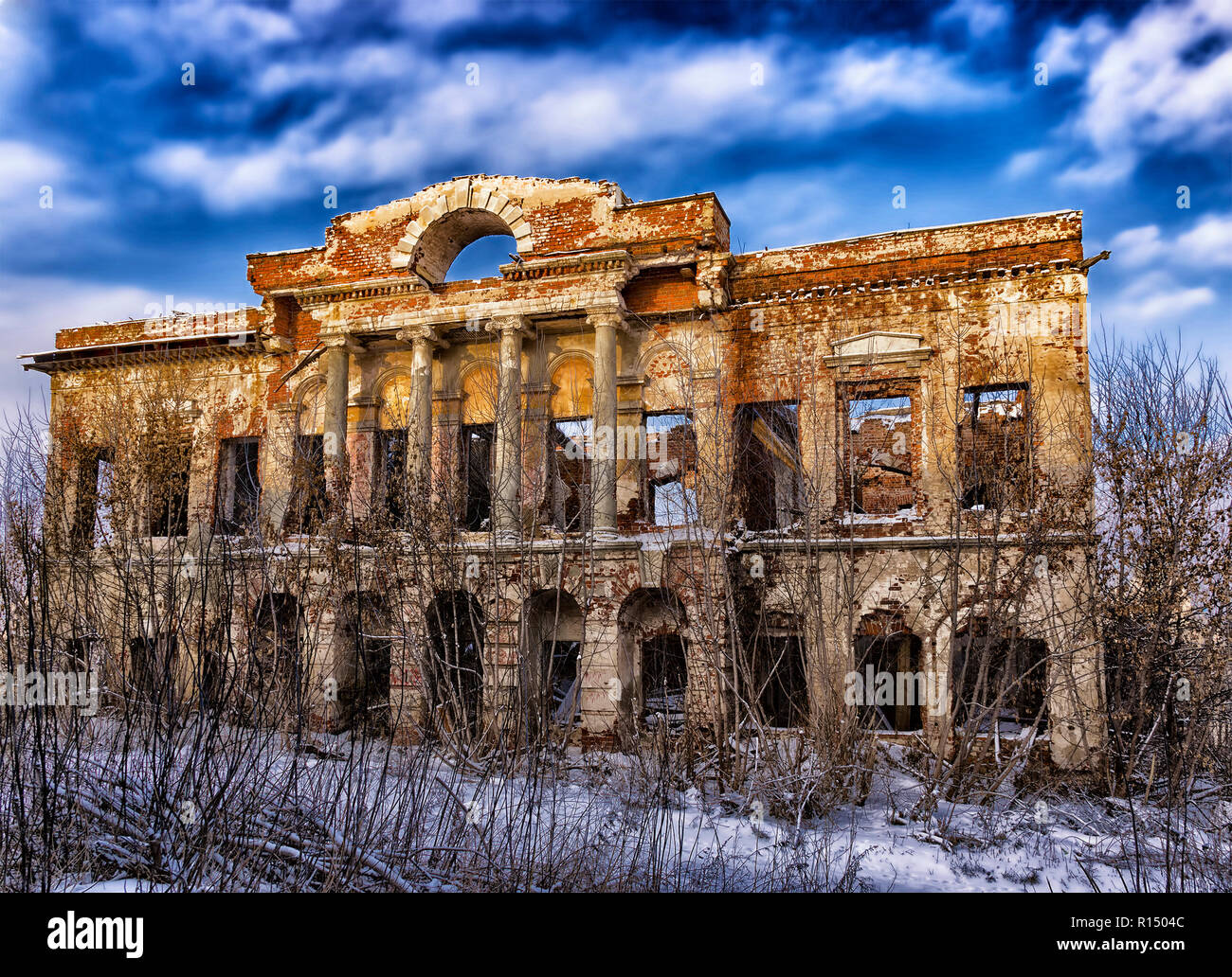 the broken Old noble house in Russia - Stock Image