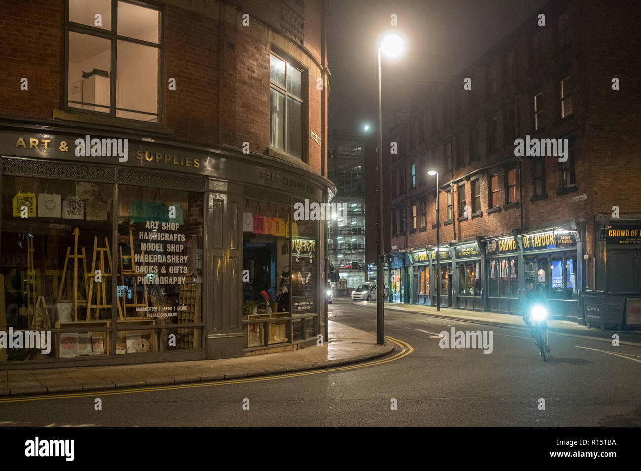 Kirkgate area in the city center of Leeds by night - Stock Image