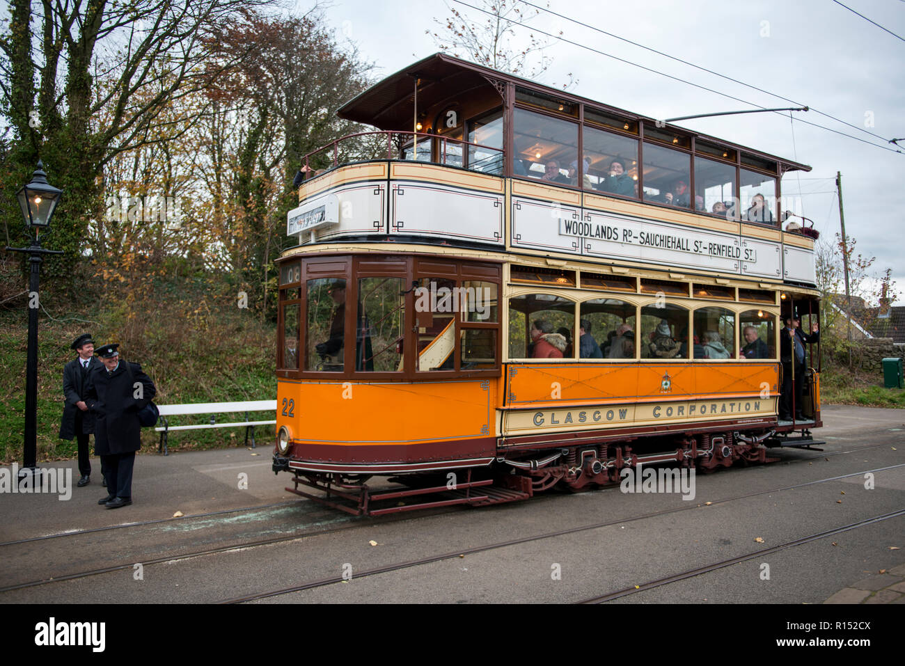 Vintage Glasgow Tram on route at Crich Tramway Village, Derbyshire, UK - Stock Image