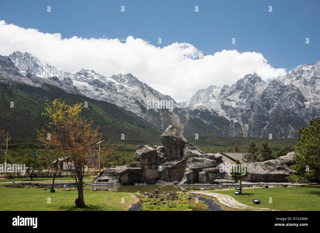 Snow covered Jade Dragon Mountains in the Yunnan province of China. Stock Photo