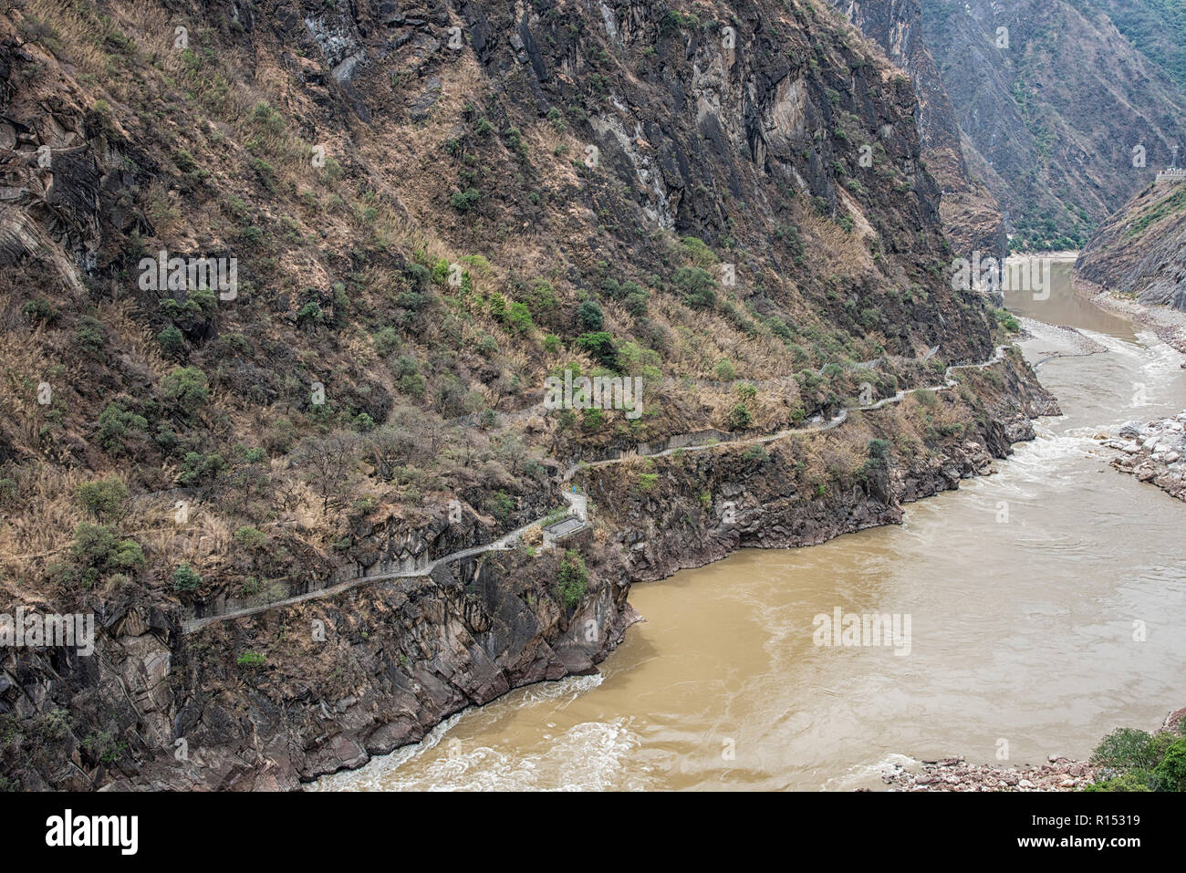 Tiger leaping gorge said to be the one of the deepest and most dramatic gorges in the World stretching for 16km long. China - Stock Image