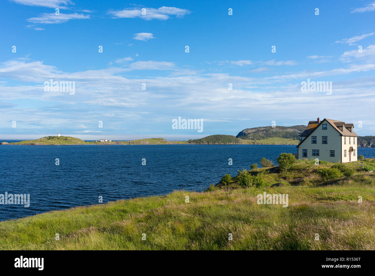 TRINITY, NEWFOUNDLAND, CANADA - Private home overlooking Trinity Bay. - Stock Image