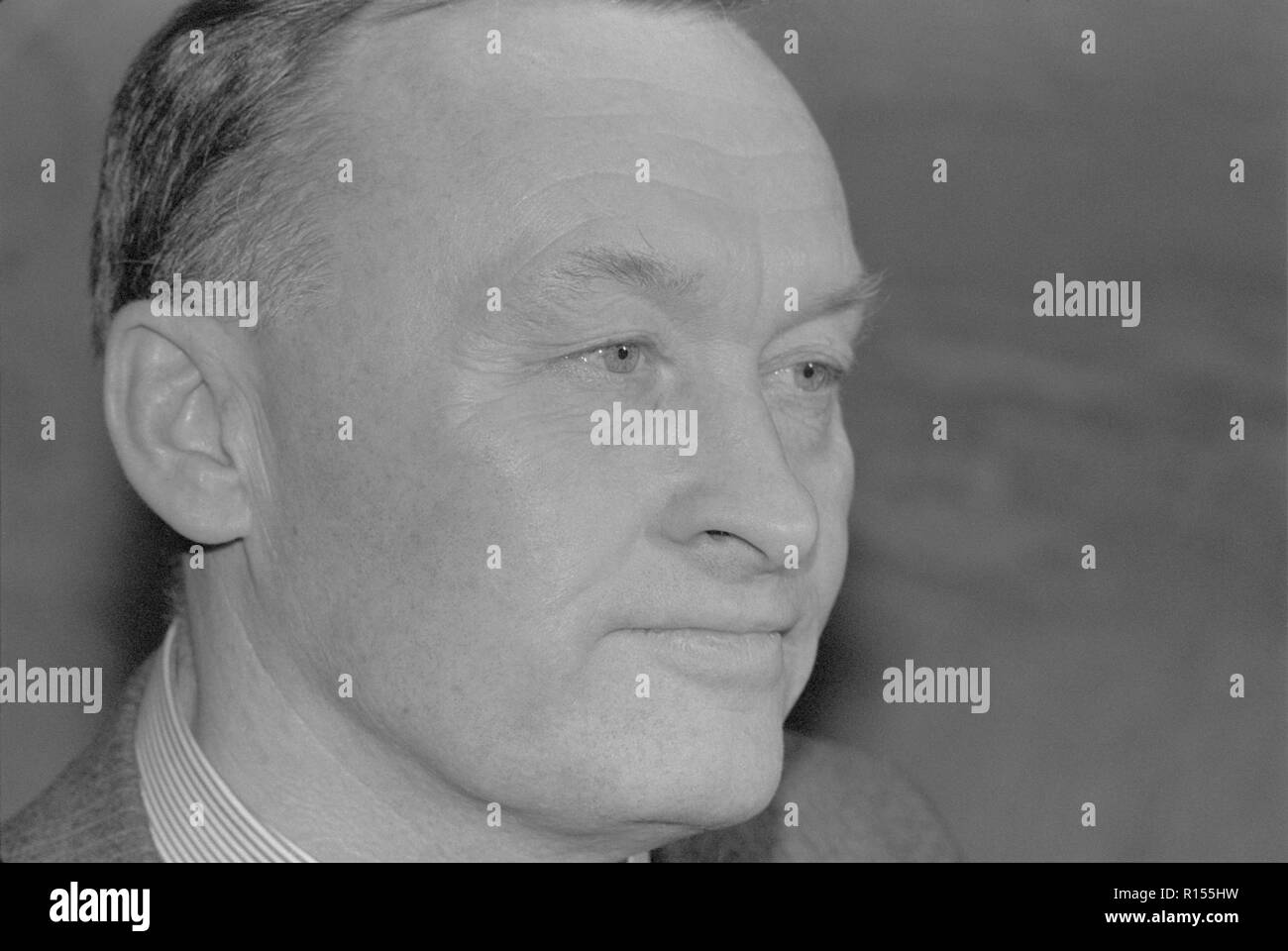 Moscow, USSR - December 21, 1990: Portrait of People's Deputy of the USSR Oleg Danilovich Kalugin at 4th Congress of People's Deputies of the USSR Stock Photo