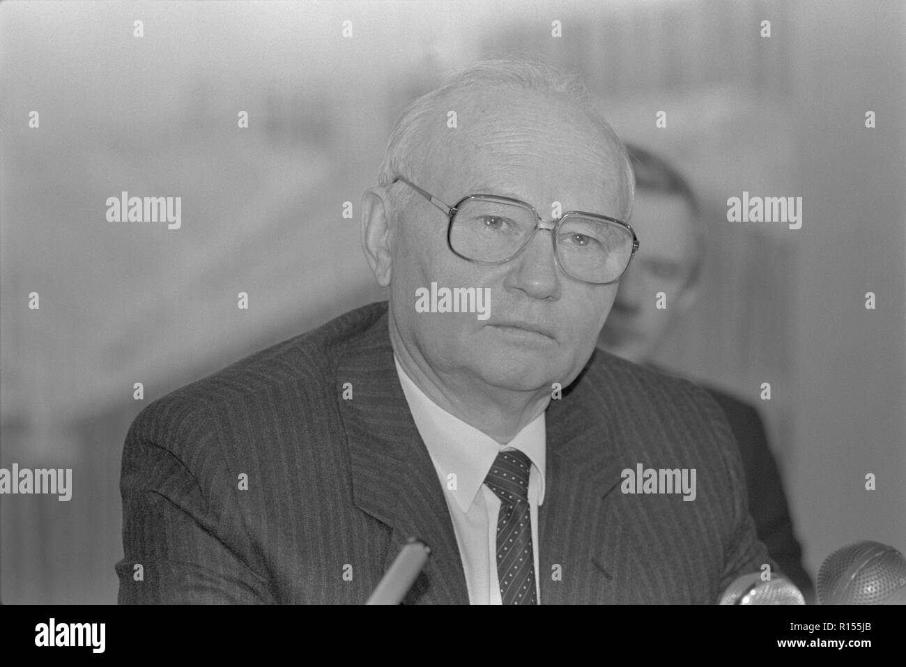 Moscow, USSR - December 26, 1990: Chairman of State Security Committee (KGB) Vladimir Alexandrovich Kryuchkov gives press-conference at 4th Congress of People's Deputies of the USSR - Stock Image