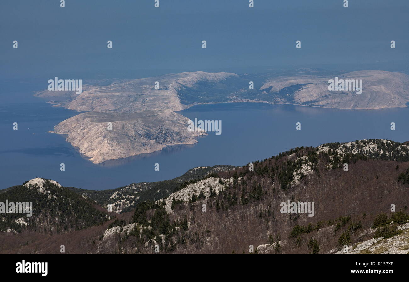The northern Dalmatian coast from the Velebit Mountains, looking at the southern end of Krk; Croatia. Stock Photo