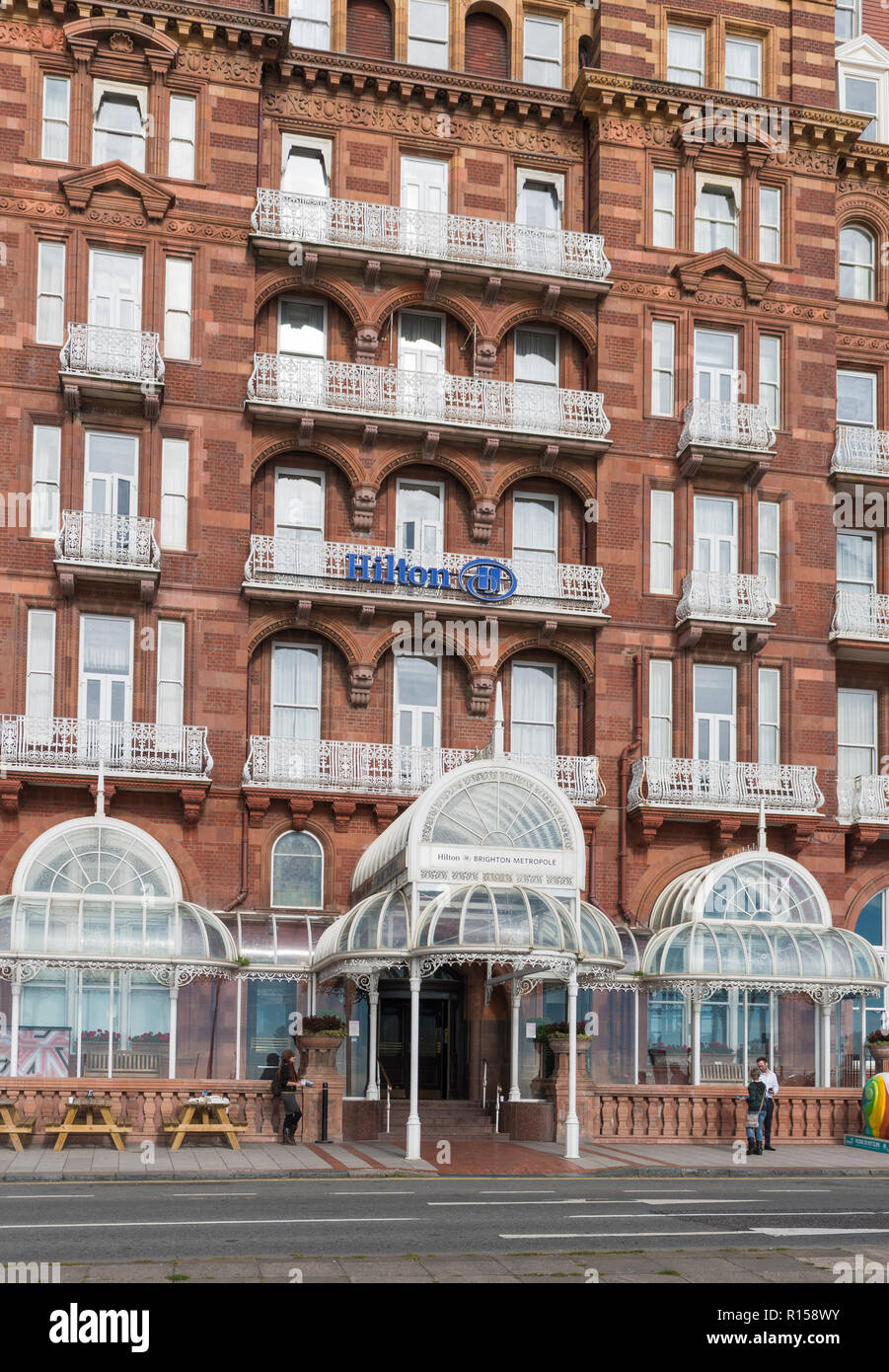 Brighton Metropole Hilton Hotel, a large seafront hotel in Brighton, East Sussex, England, UK. Portrait. - Stock Image