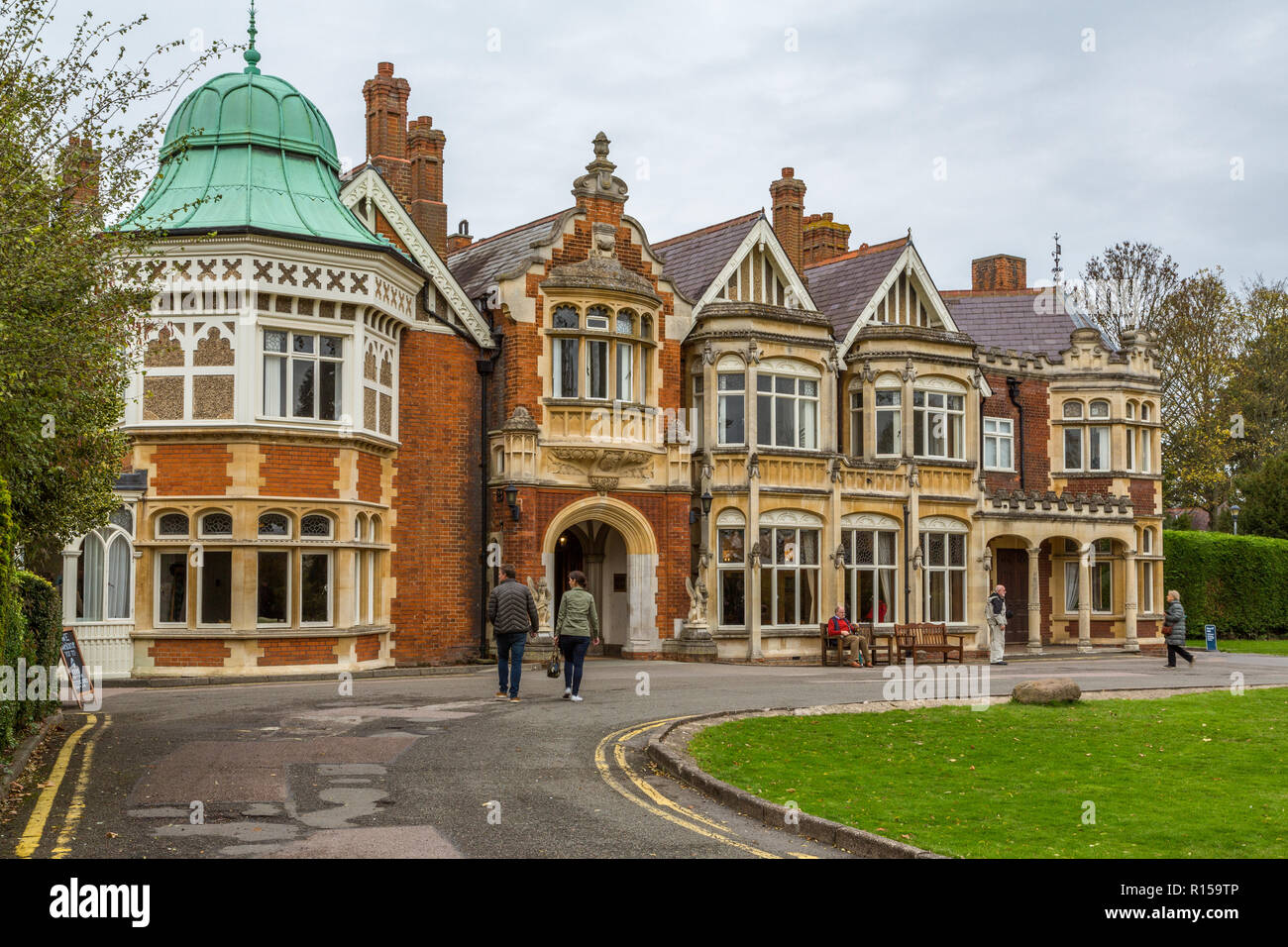 Bletchley Park is a nineteenth-century mansion and was the home of Government Code and Cypher School during world war 11, Bletchley, Bucks ,England UK Stock Photo