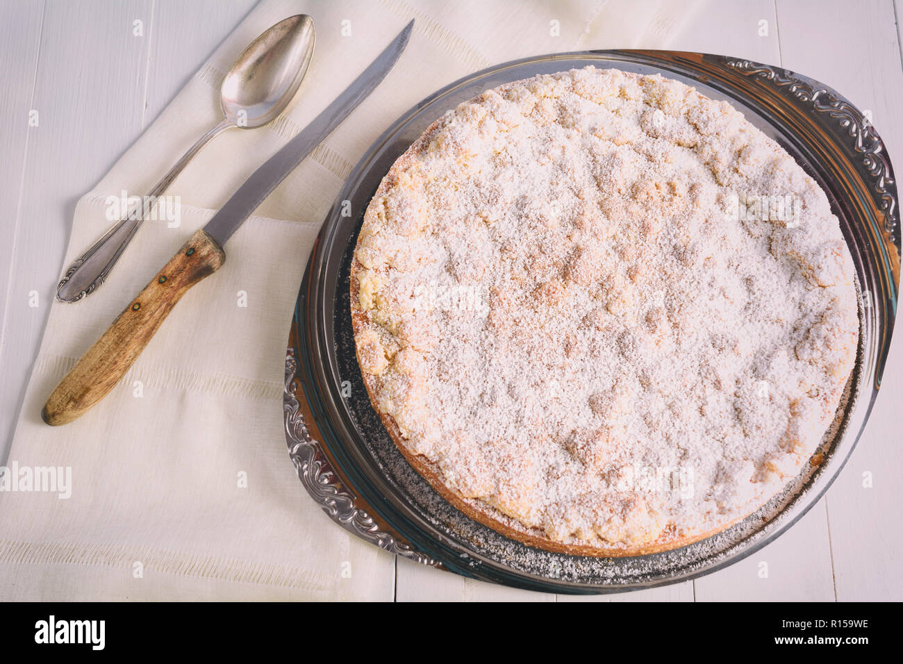 A Homemade Apple Crumble Cake On A Cake Plate Stock Photo 224466970