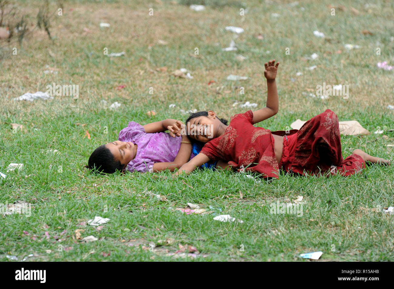 Dhaka, Bangladesh - April 19, 2010: Children playing in Village of the field at Dhaka, Bangladesh. - Stock Image