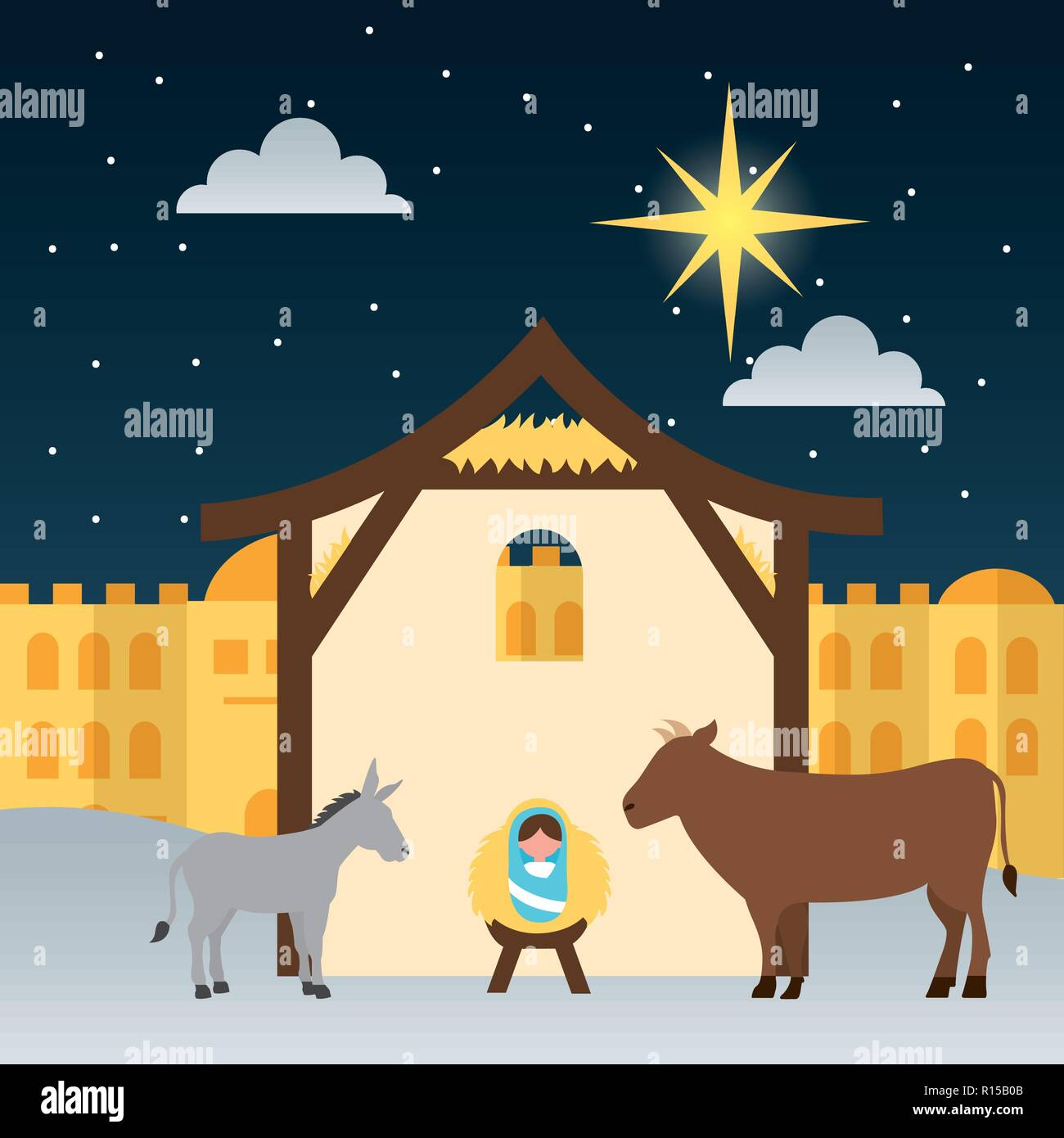 manger epiphany castle ox donkey born baby vector illustration - Stock Vector