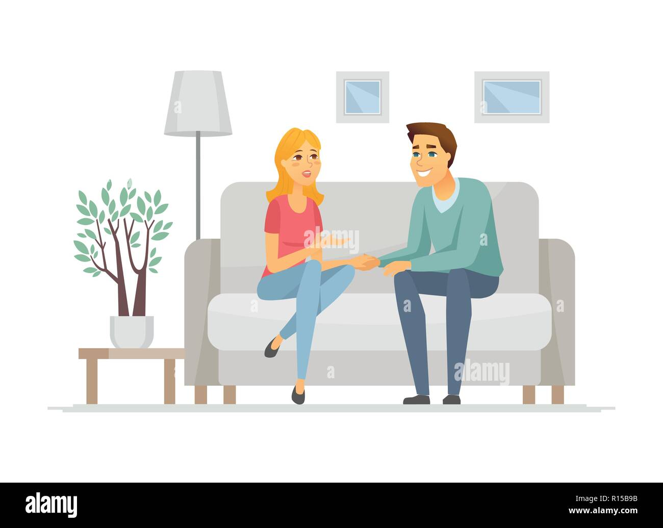 Young family talking - cartoon people characters illustration - Stock Vector