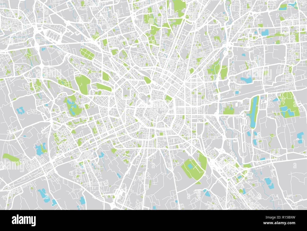 Urban vector city map of Milan, Italy Stock Vector Art ...
