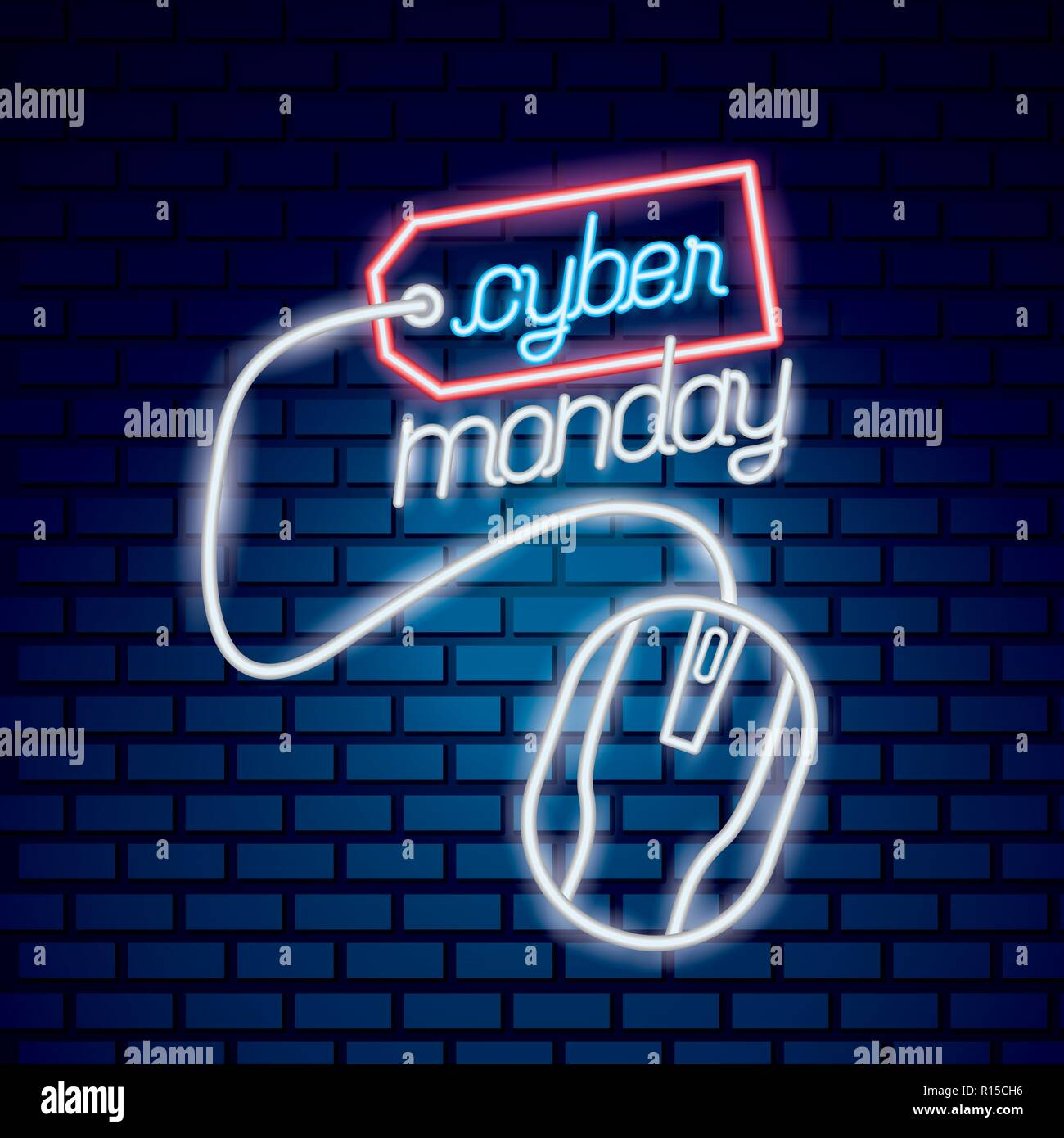 e3d6219eef cyber monday red ticket mouse neon style vector illustration Stock ...