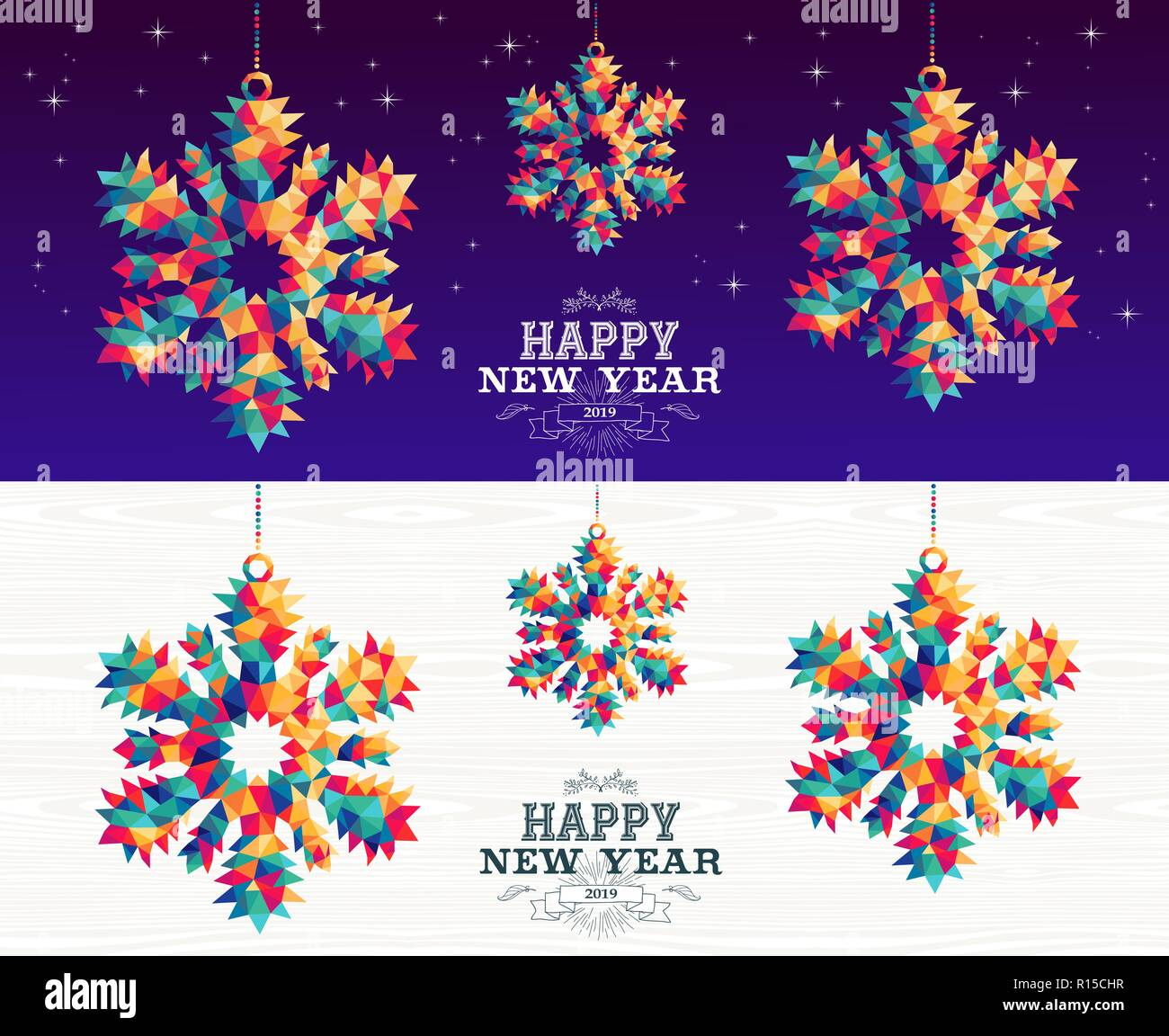 happy new year 2019 colorful hipster triangle snowflake holiday ornaments banner set with night sky and wood background eps10 vector