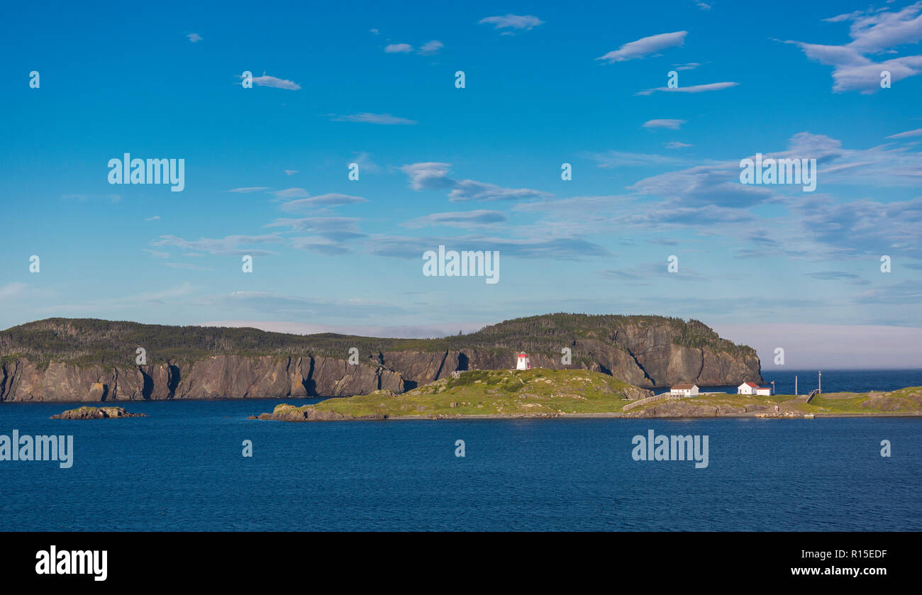 TRINITY, NEWFOUNDLAND, CANADA - Fort Point lighthouse in Trinity harbour, also known as Admiral's Point. - Stock Image