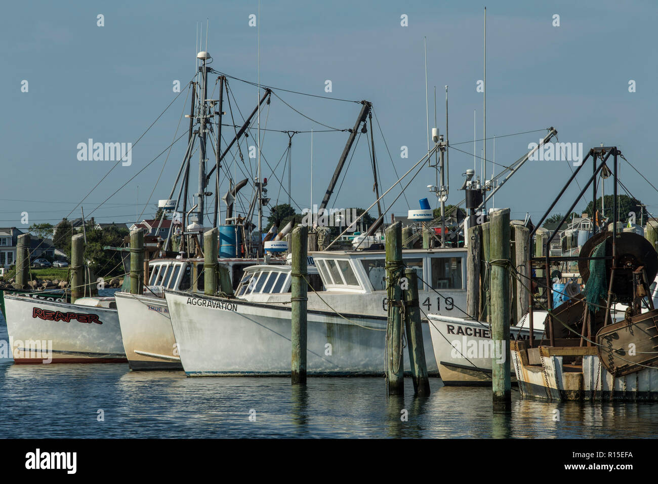Commercial Fishing Boats, Point Judith Marina, PT Judith, RI. close to the ferry service that transports people back and forth to Block Island, RI. - Stock Image