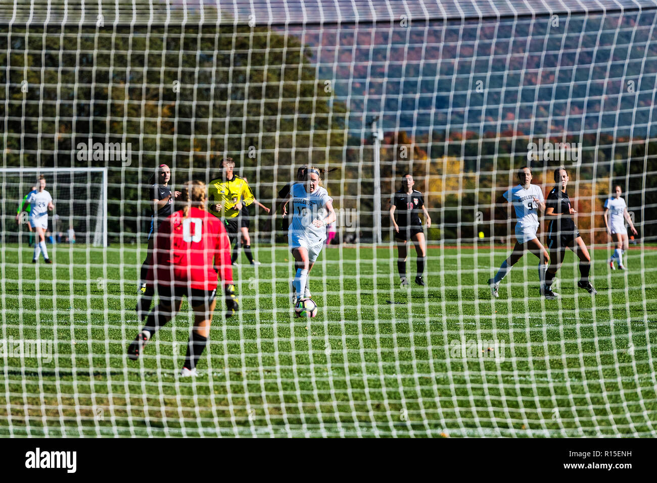 Middlebury College women's soccer game, Vermont, USA. - Stock Image