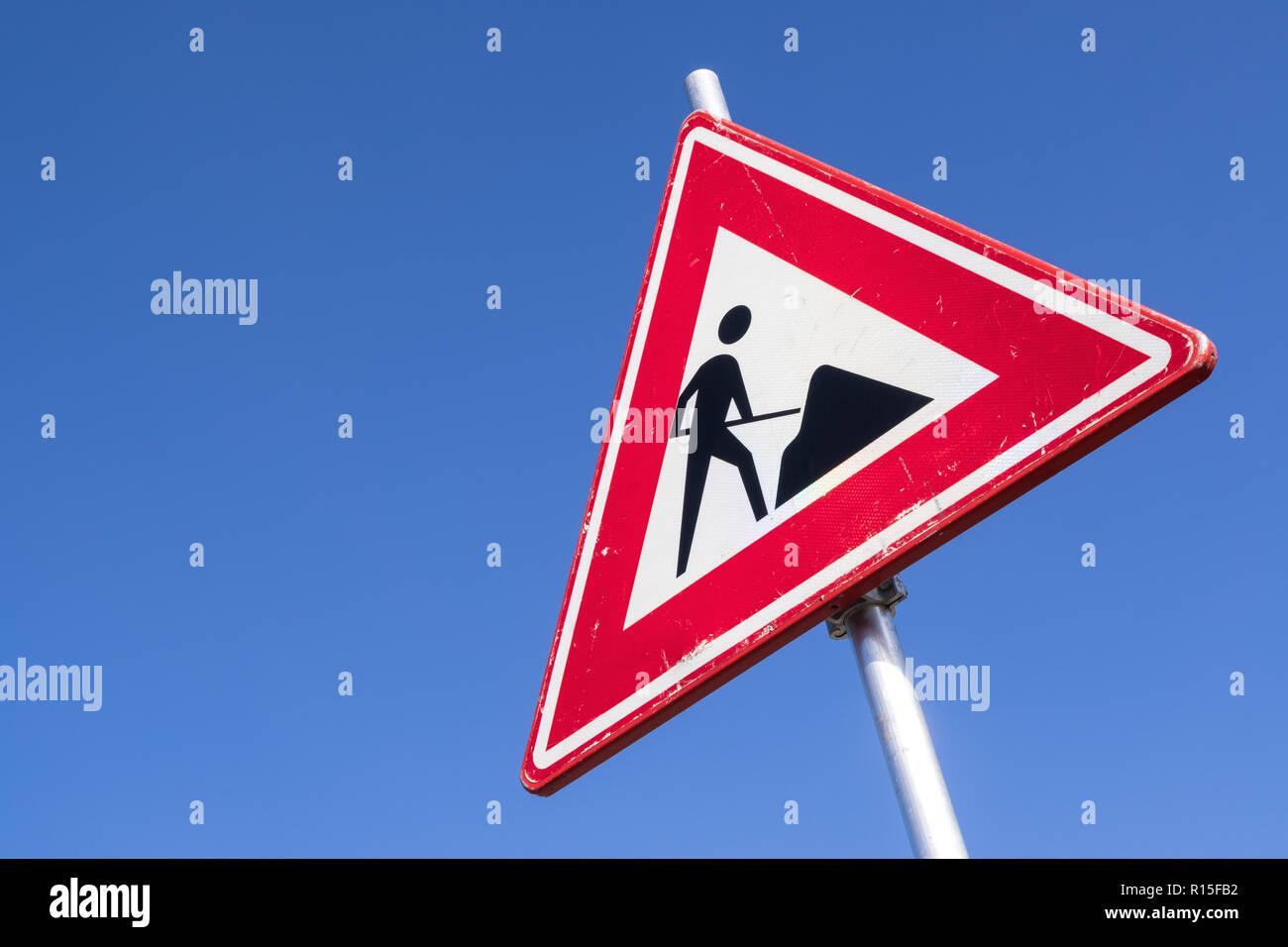 Dutch road sign: roadworks ahead - Stock Image
