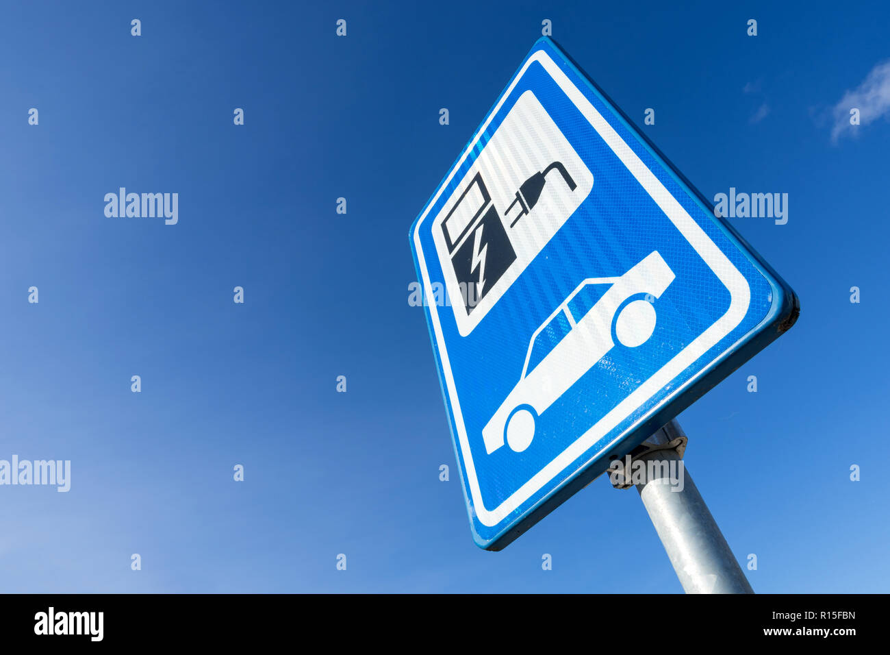 Dutch road sign: electric vehicle charging station Stock Photo