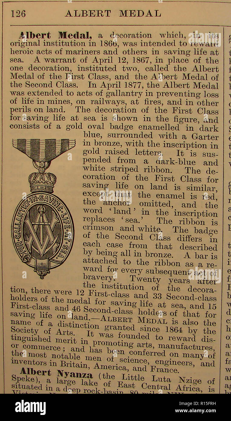 Albert Medal -  (British) Given for acts of gallantry or bravery at sea, in mines, on railways, fires or other perilous situations - An entry from Chambers Encyclopedia 1888 - Stock Image